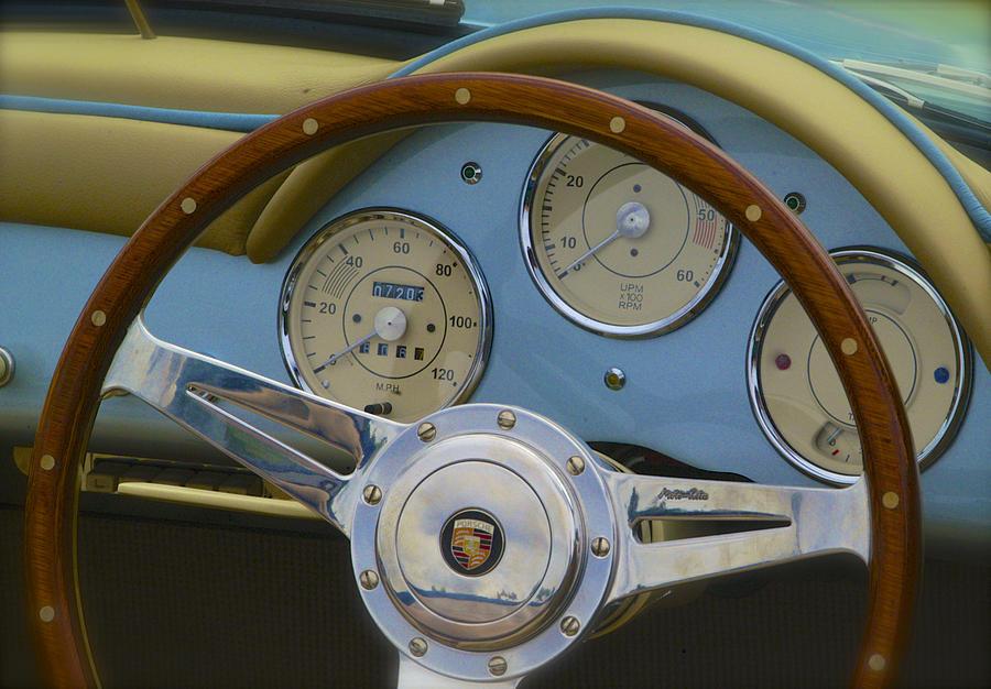 Classic Porsche Karmann Ghia Steering Wheel Photograph By