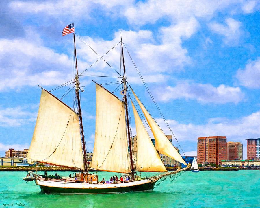 Boston Harbor Photograph - Classic Tall Ship In Boston Harbor by Mark E Tisdale