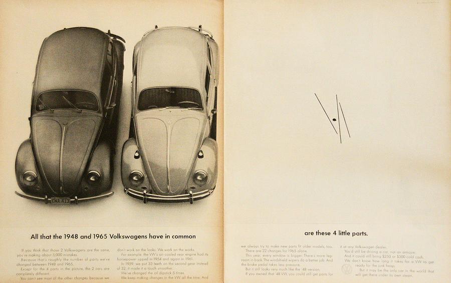 Volkswagen Beetle Digital Art - Classic Volkswagen Beetle Vintage Advert by Georgia Fowler
