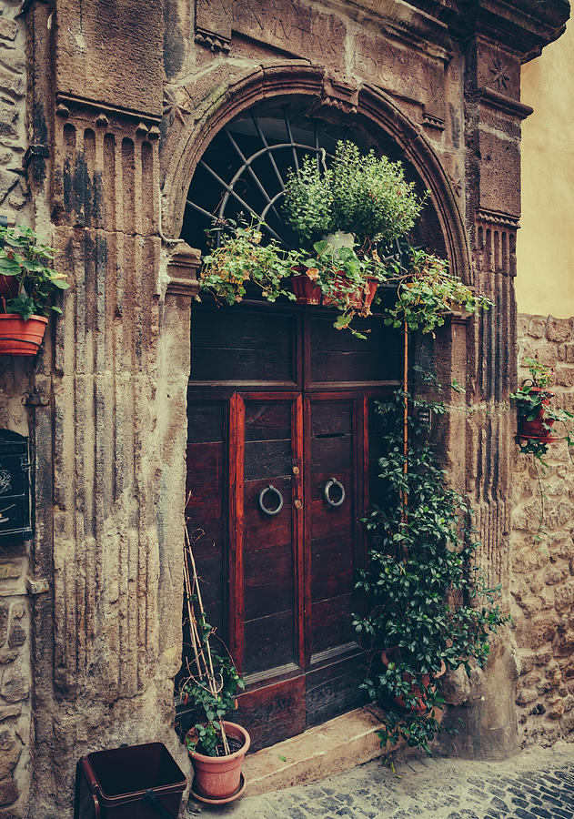 Classic Wooden Door On Stonewall, Lazio Photograph by Kaisersosa67