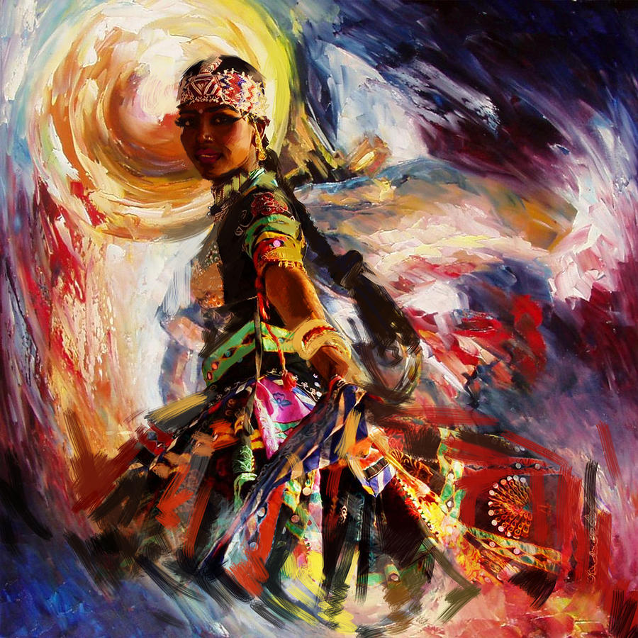 Indian Women Paintings   Fine Art America for Abstract Painting Of Indian Dancers  51ane