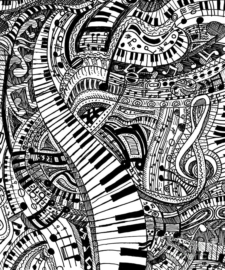 Classical Music Doodle With Piano Keyboard Drawing By