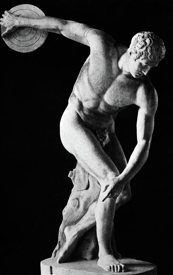 Vertical Photograph - Classical Nude Figure Discus Thrower by Vintage Images