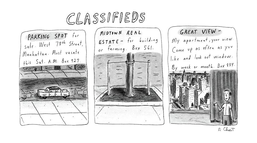 Classifieds Drawing by Roz Chast