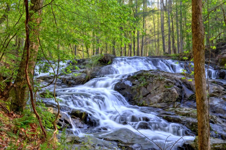 Waterfalls Digital Art - Clay Creek Falls by Bob Jackson
