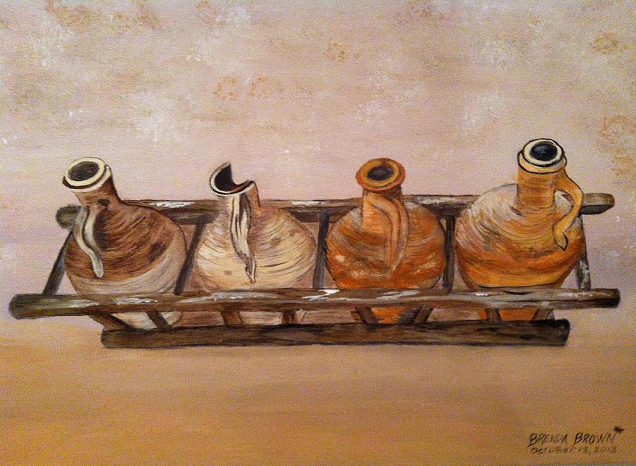 Mediterranean Painting - Clay Jugs In A Row by Brenda Brown