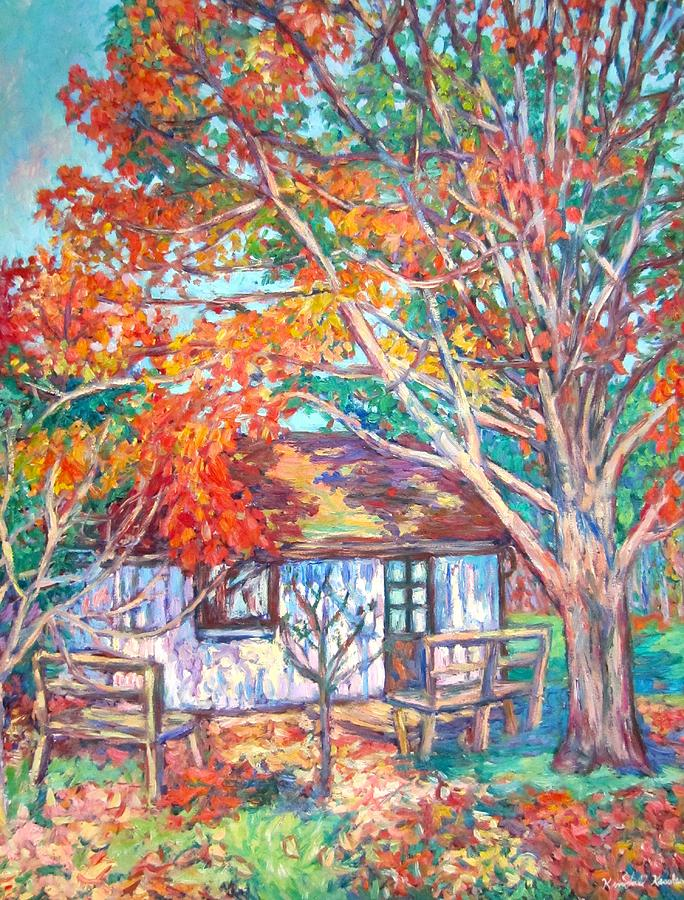 Claytor Lake Painting - Claytor Lake Cabin in Fall by Kendall Kessler