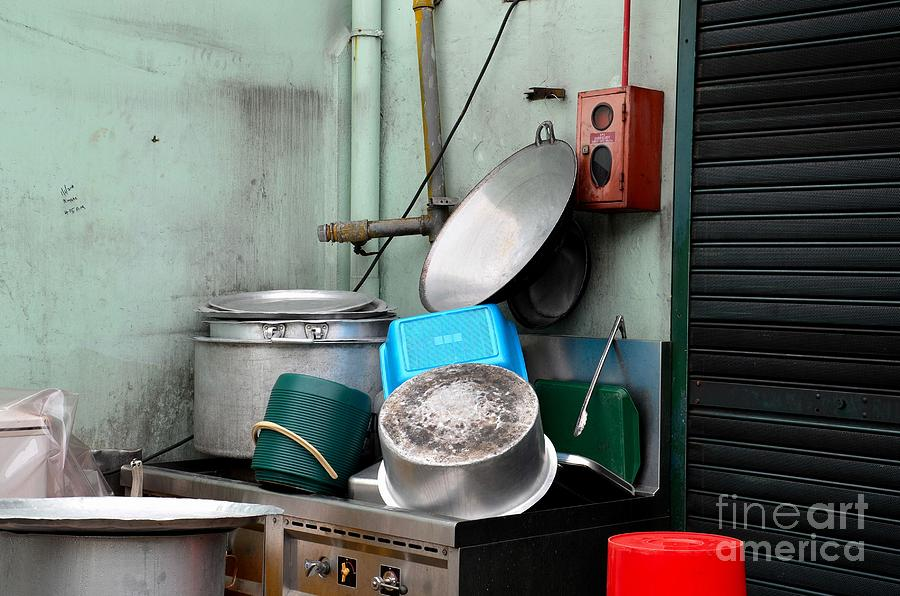 Pots Photograph - Clean Pots And Pans On Outdoor Sink by Imran Ahmed