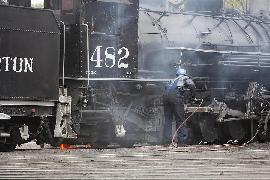 Trains Photograph - Cleaning Out The Coal by Amber Kresge