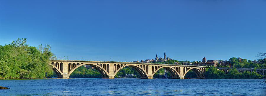 Clear Blue Skies At Key Bridge by Metro DC Photography