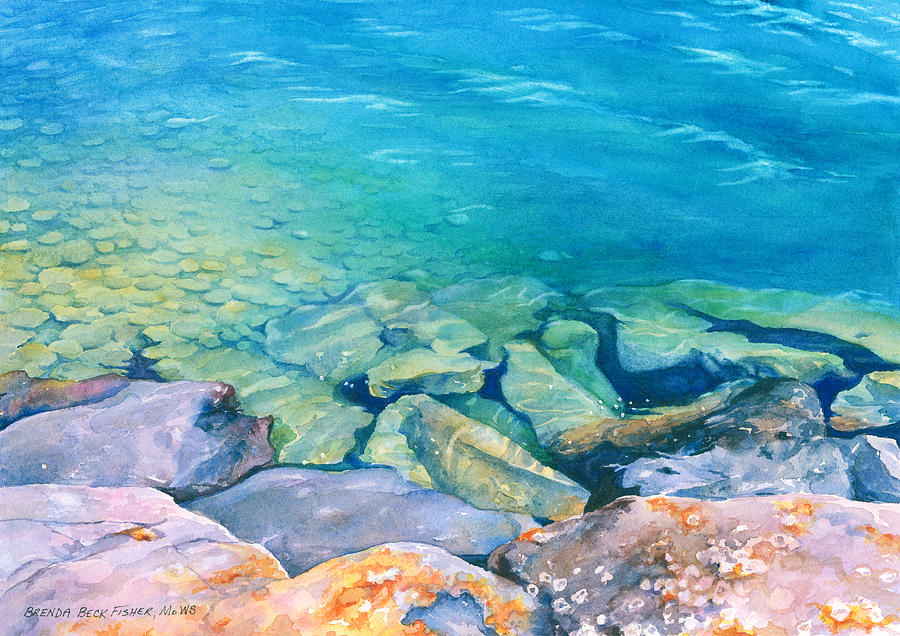 Water Painting - Clear Water by Brenda Beck Fisher