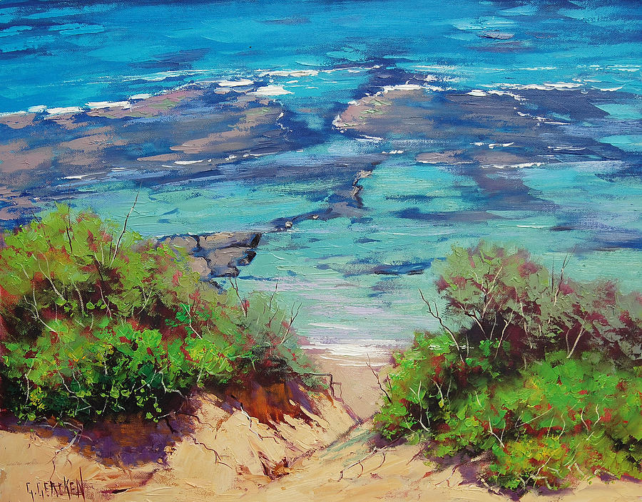 Seascape Painting - Clear Waters Norah Head by Graham Gercken