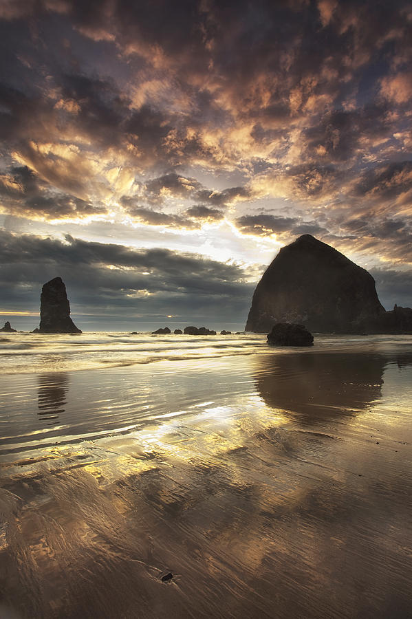 Beach Photograph - Clearing Skies At Cannon Beach by Andrew Soundarajan
