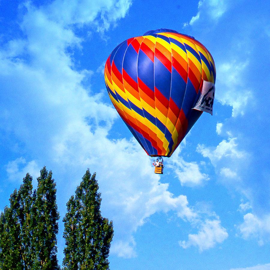Hot Air Balloon Digital Art - Clearing The Tree Tops by Ken Evans