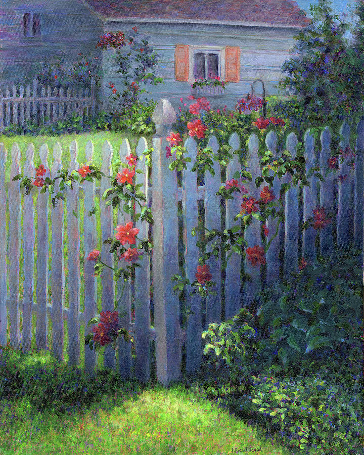 Clematis On A Picket Fence Painting By Susan Savad