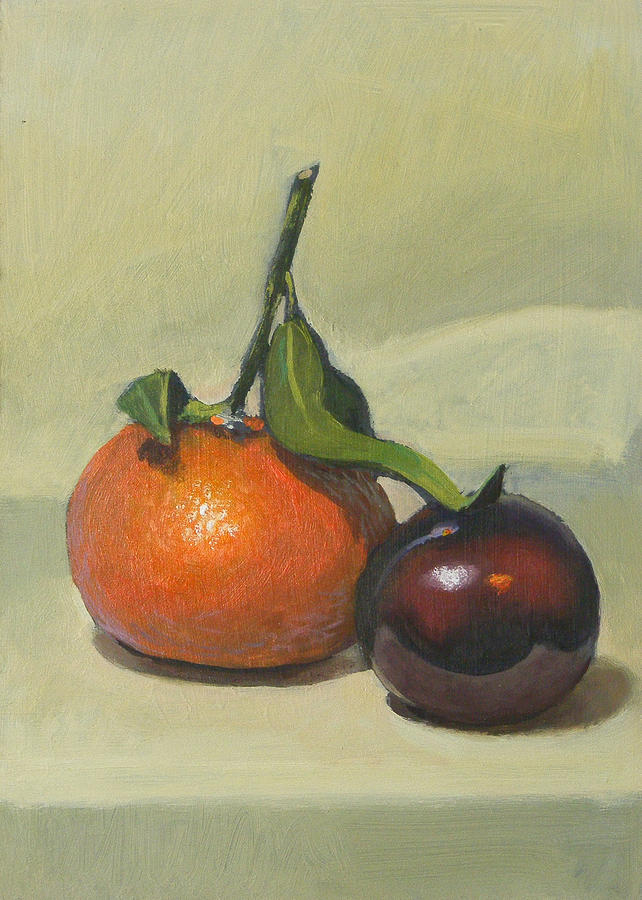 Clementine Painting - Clementine And Plum by Peter Orrock
