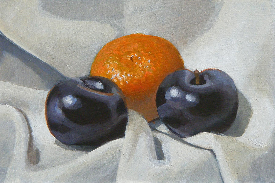 Clementine Painting - Clementine And Plums by Peter Orrock