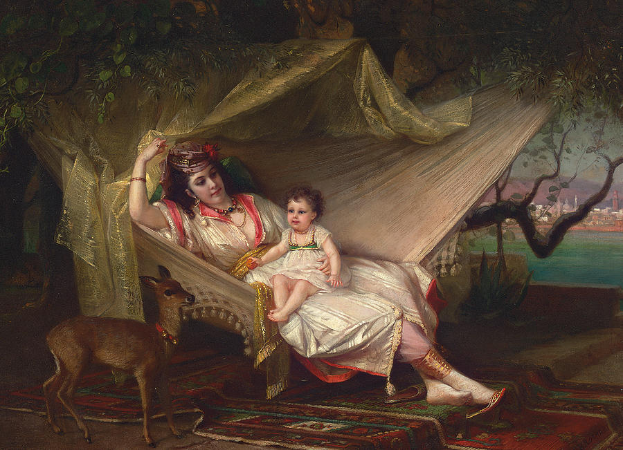 Constant Painting - Clementine Stora And Her Daughter Lucie by Constant Joseph Brochart