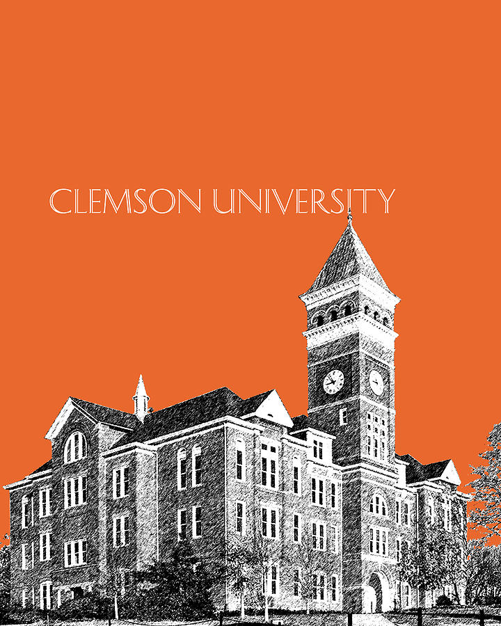 University Digital Art - Clemson University - Coral by DB Artist