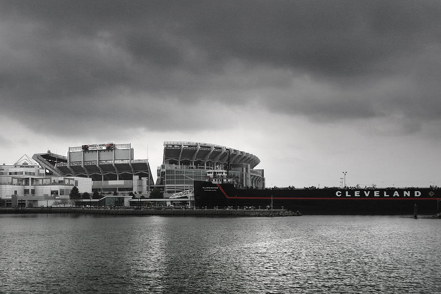 Cleveland Photograph - Cleveland Browns Stadium From The Inner Harbor by Kenneth Krolikowski