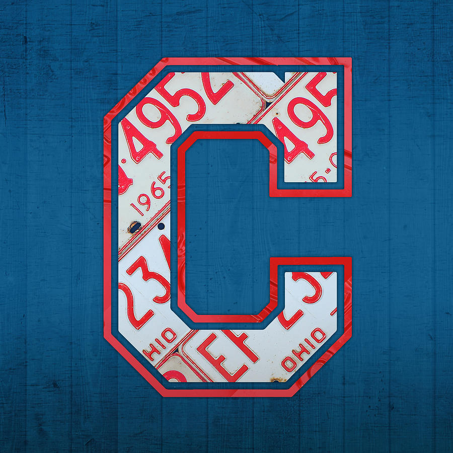Cleveland Indians Mixed Media - Cleveland Indians Baseball Team Vintage Logo Recycled Ohio License Plate Art by Design Turnpike