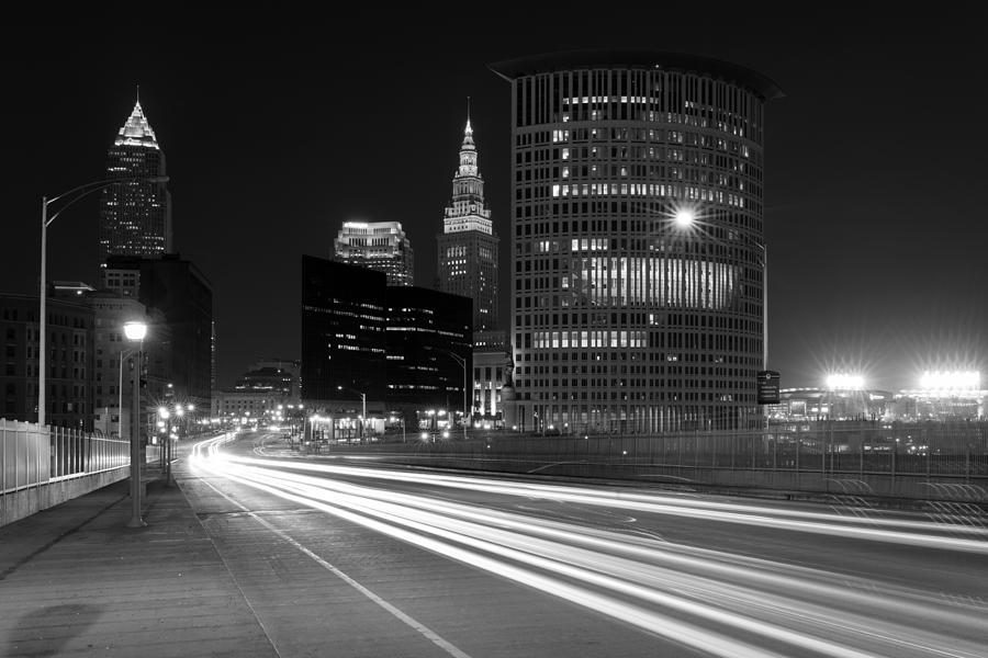 Cleveland Skyline Masterpiece Black and White  by Clint Buhler
