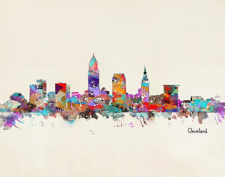 Cleveland Skyline Painting - Cleveland Ohio Skyline by Bleu Bri