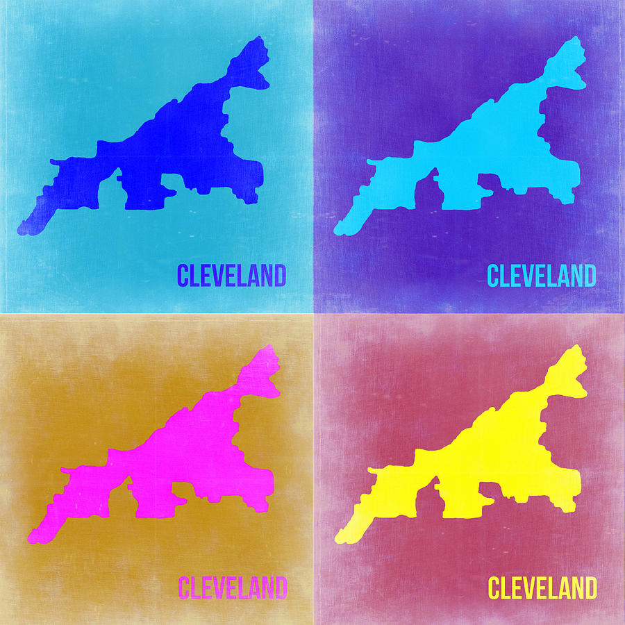 Cleveland Map Painting - Cleveland Pop Art Map 2 by Naxart Studio