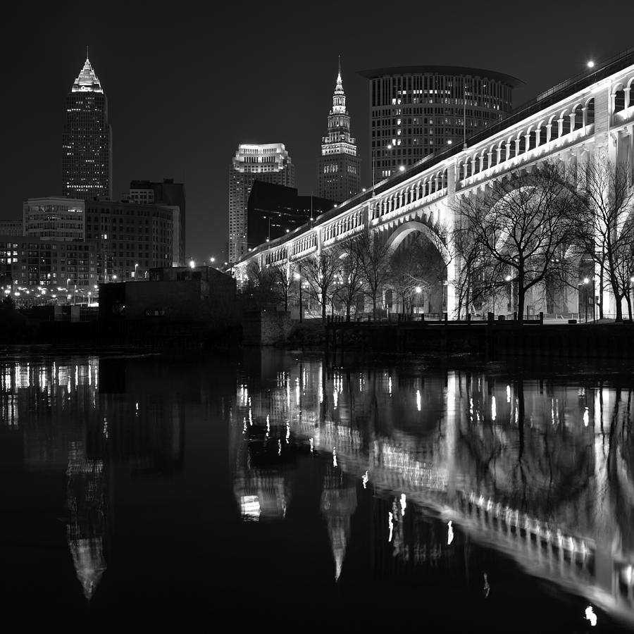 Cleveland Photograph - Cleveland Reflections In Black And White by Clint Buhler