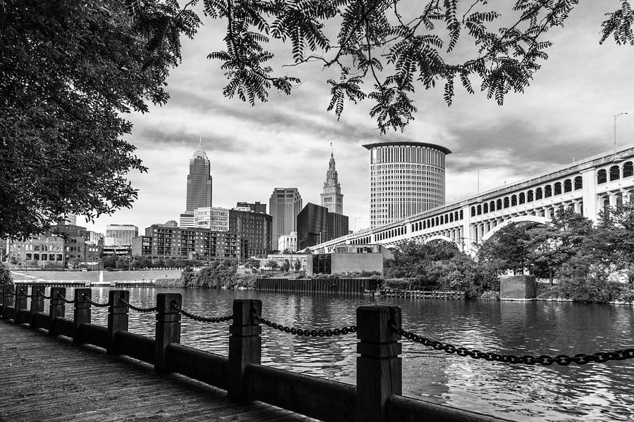 Cleveland Ohio Photograph - Cleveland River Cityscape by Dale Kincaid