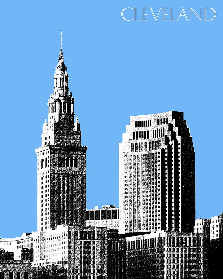 Architecture Digital Art - Cleveland Skyline 1 - Light Blue by DB Artist