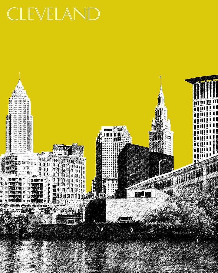 Architecture Digital Art - Cleveland Skyline 3 - Mustard by DB Artist