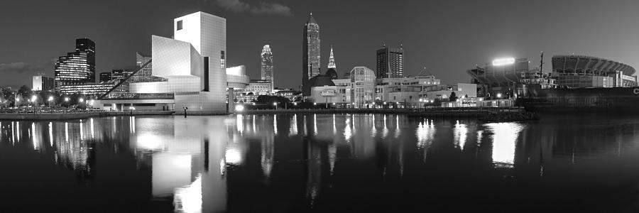 Cleveland Skyline Photograph - Cleveland Skyline At Dusk Black And White by Jon Holiday