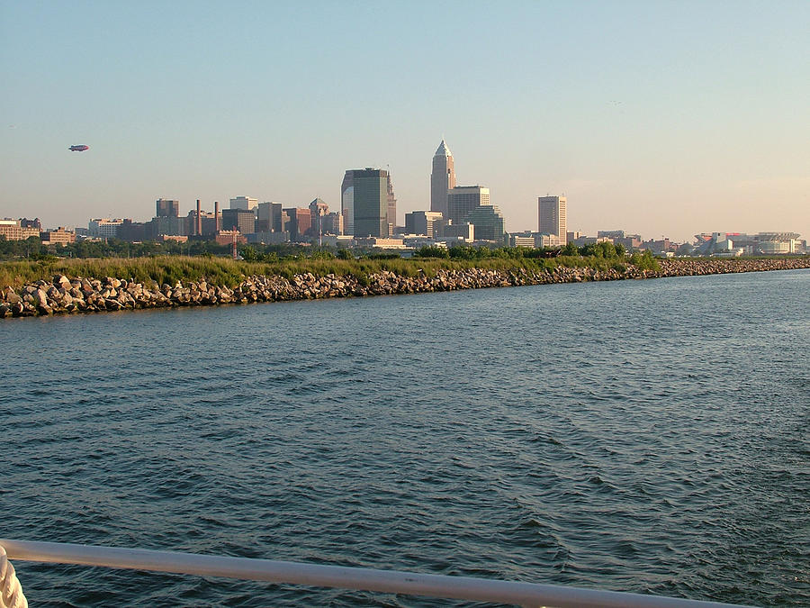 Cleveland Photograph - Cleveland Skyline From Blimp To Stadium by Liz Copic