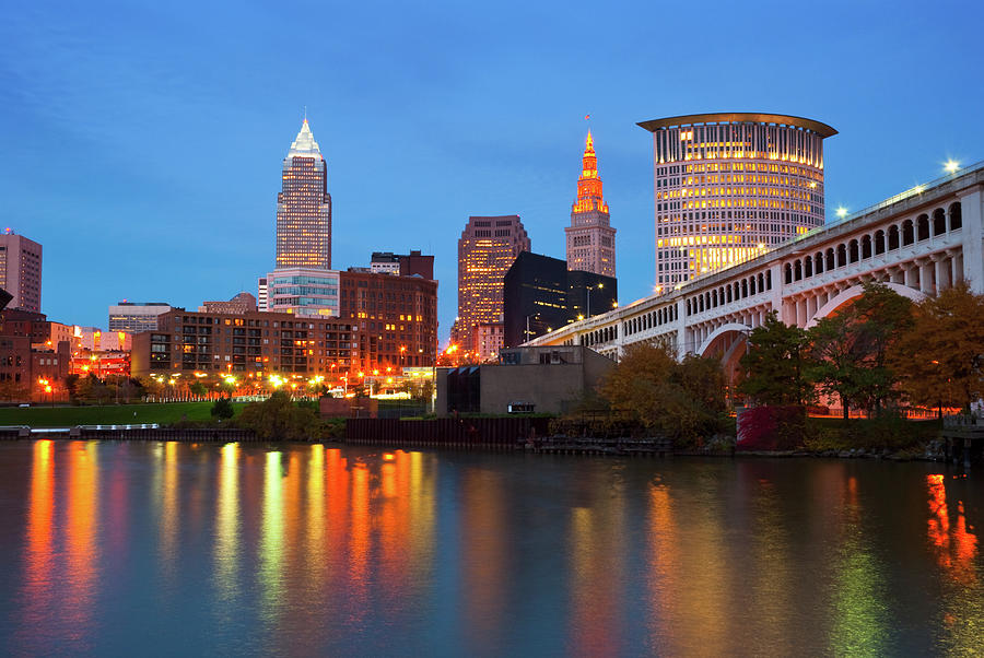 Cleveland Skyline, River, And Bridge At Photograph by Davel5957