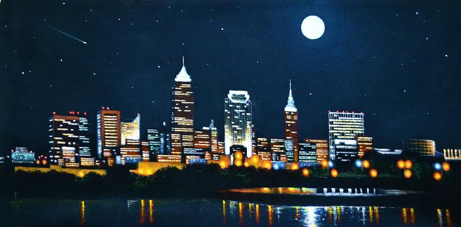 Cleveland Skyline Painting By Thomas Kolendra