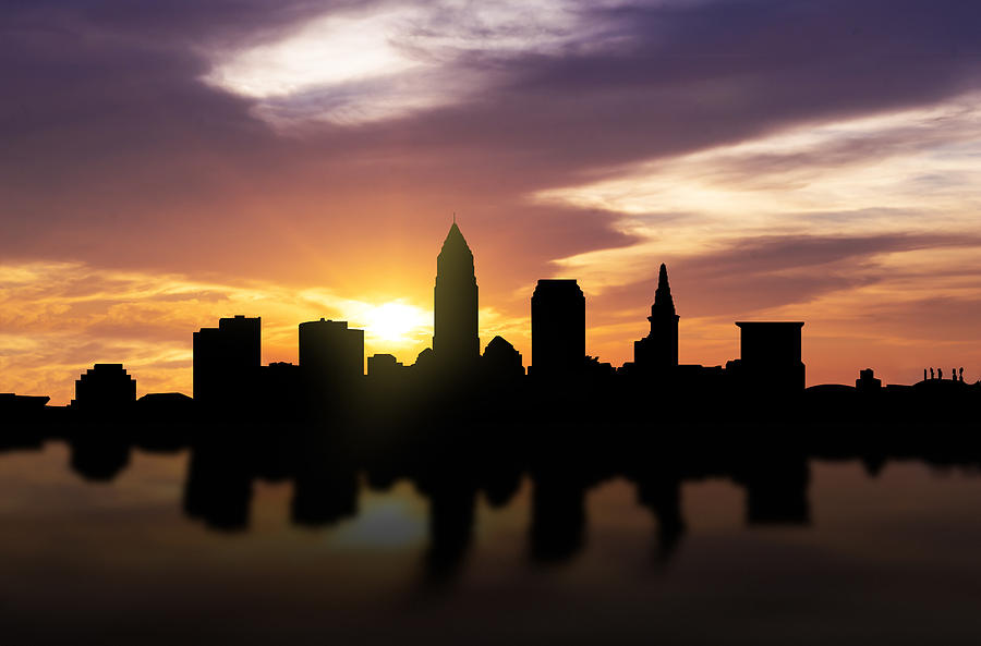 Cleveland Sunset Skyline Photograph By Aged Pixel
