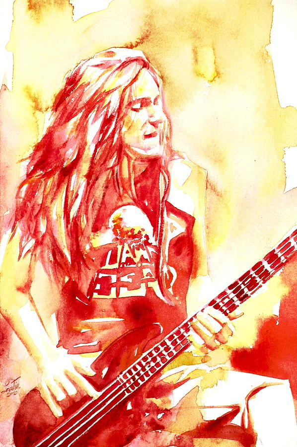 Cliff Painting - Cliff Burton Playing Bass Guitar Portrait.1 by Fabrizio Cassetta