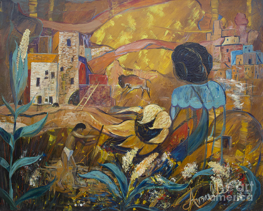 Anasazi Painting - Cliff Dwellers by Avonelle Kelsey