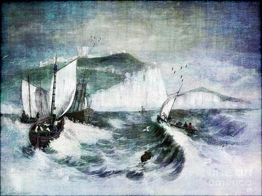 Ocean Digital Art - Cliffs Of Dover by Lianne Schneider