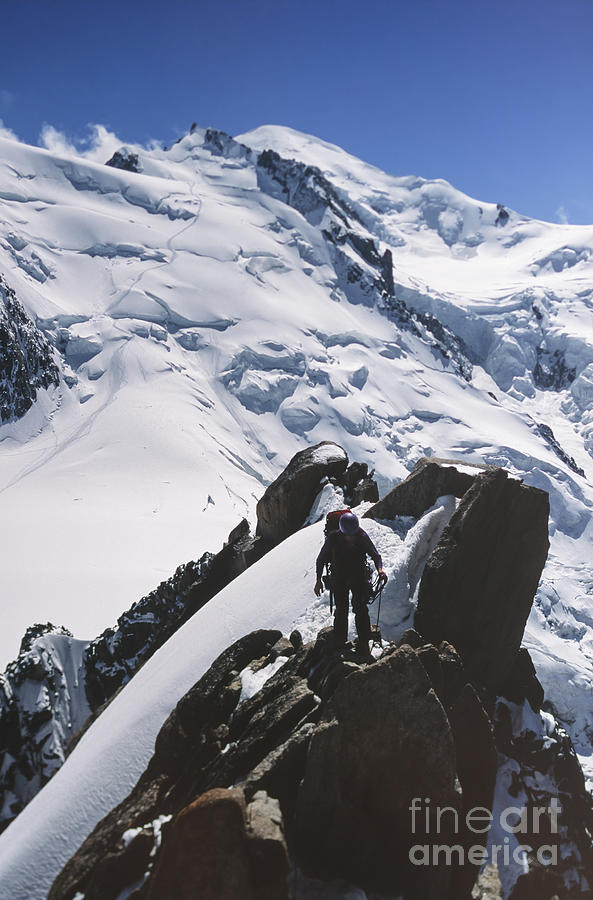 Accomplishments Photograph - Climber On Mt Blanc In France by Soren Egeberg