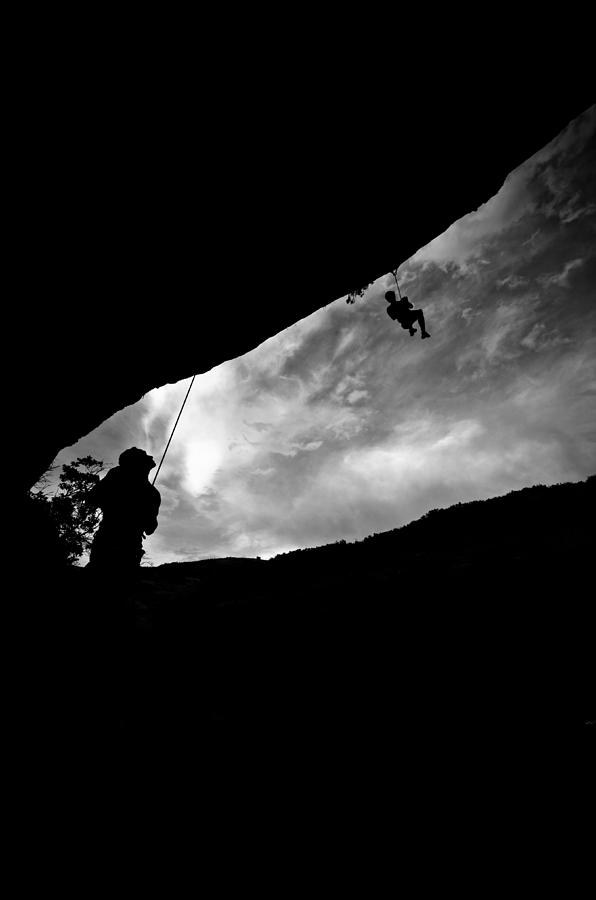 Acrobatic Photograph - Climber Silhouette 1 by Chase Taylor