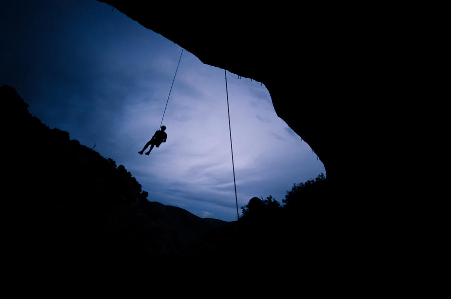 Acrobatic Photograph - Climber Silhouette 2 by Chase Taylor