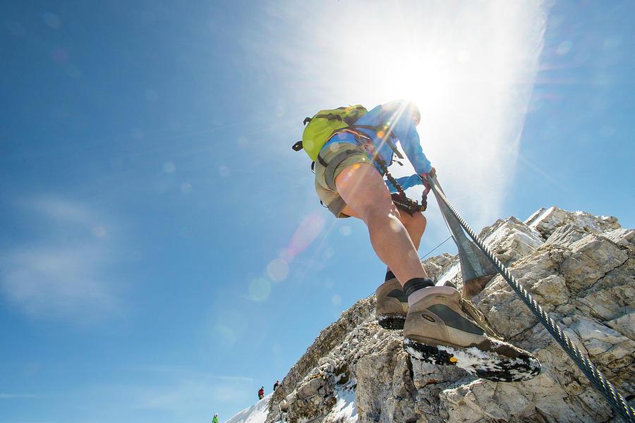Mountain Photograph - Climbing At Via Ferrata Ivano Dibona by Marcos Ferro