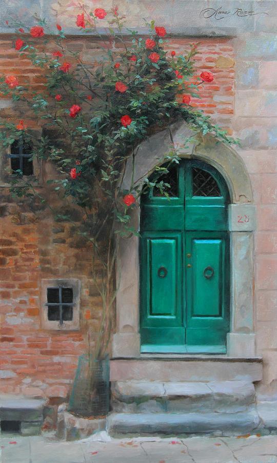 Roses Painting - Climbing Roses Cortona Italy by Anna Rose Bain