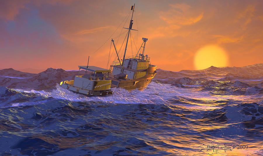 Seascape Digital Art - Climbing The Sea by Dieter Carlton