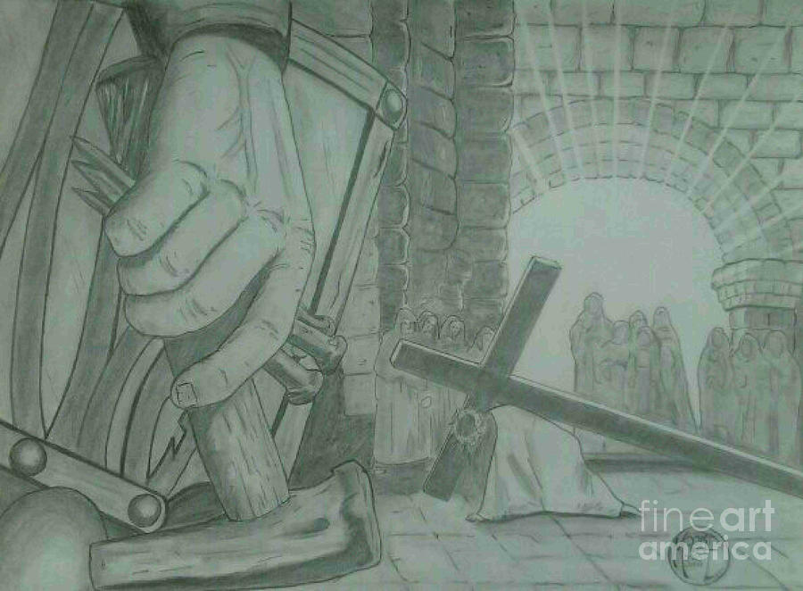 King Of Kings Drawing - Clinging To The Cross by Justin Moore