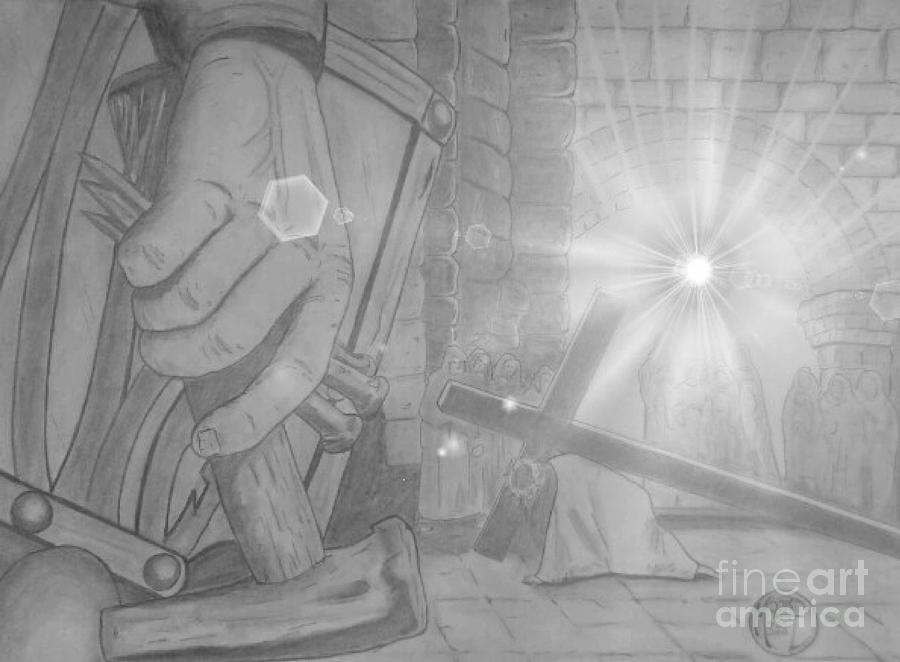 Justin W Moore Drawing - Clinging To The Cross Lights by Justin Moore