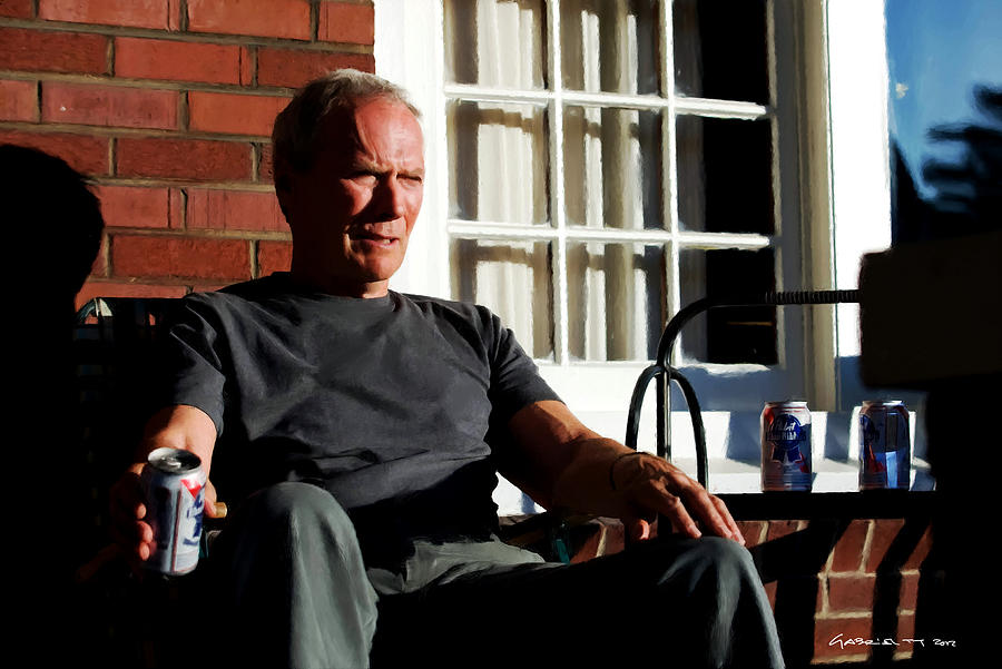 Clint Eastwood Digital Art - Clint Eastwood @ Grand Torino- 2 by Gabriel T Toro