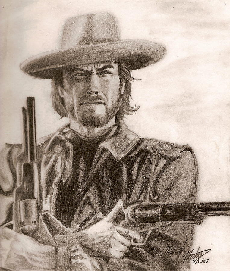 Clint Eastwood Drawing - Clint Eastwood by Michael Mestas